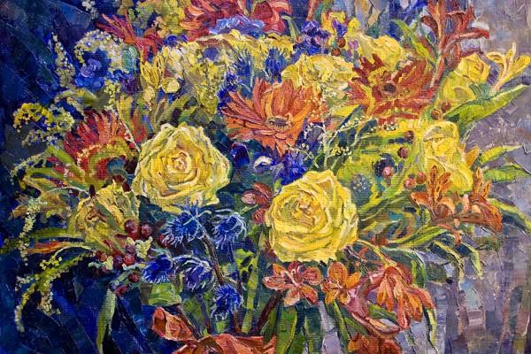 Натюрморт с жёлтыми розами