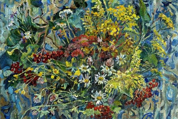 Кофейник и полевые цветы