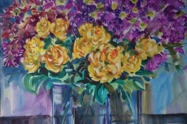 Желтые розы и хризантемы